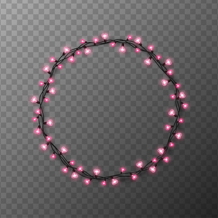 Pink heart shaped light bulbs circle frame on transparent background. Holiday illumination made of garland wire for Happy Saint Valentines day