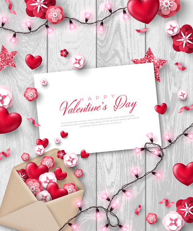 Happy Saint Valentines day card, holiday objects on wooden background. Vector illustration. Glittering hearts, star and flowers, envelope with letter and light bulb garland.