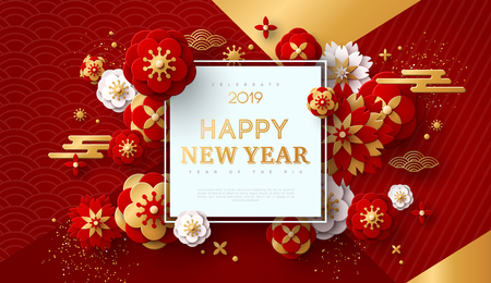 Chinese Greeting Card for 2019 New Year. Vector illustration. Golden Flowers, Clouds and Asian Elements on Modern Geometric Background with Square Frame. Ilustração