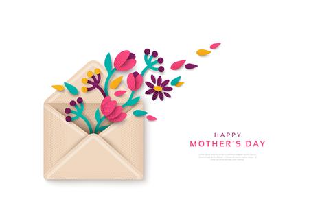 Buon regalo per la festa della mamma, busta con fiori. Illustrazione vettoriale. Tulipani, rami e foglie in stile carta tagliata, vista dall'alto. Concetto di saluto festivo.