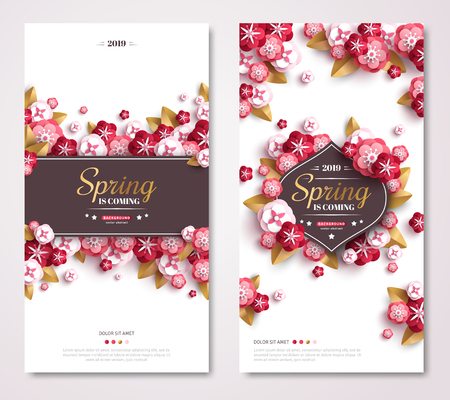 Vintage spring banner design with pink paper cut flowers and gold leaves. Frame with place for text. Fresh floral background for posters, brochures or vouchers. 免版税图像 - 114706081
