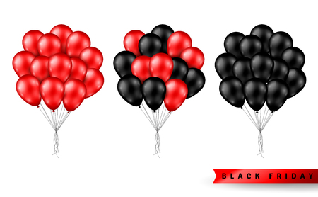 Shiny Balloons Bunch Set Isolated on White Background. Vector illustration. Elements for Black Friday Sale Poster