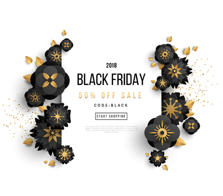 Black Friday Sale Poster with Confetti and Black and Gold Flowers on White Background. Vector illustration.