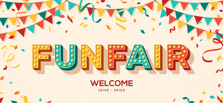 Funfair banner with typography design. Vector illustration with retro light bulbs font, streamers, confetti and hanging bunting. Stockfoto - 117009133
