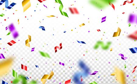 Serpentina de colores y confeti aislado sobre fondo transparente. Ilustración vectorial. Decoraciones brillantes que caen para el diseño navideño. Ilustración de vector
