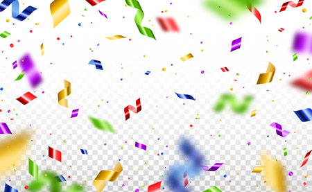 Colorful serpentine and confetti isolated on transparent background. Vector illustration. Shiny falling decorations for holiday design