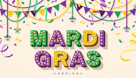 Diseño de tipografía retro de Mardi Gras Ilustración de vector