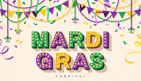 Mardi Gras retro typography design Stock Illustratie
