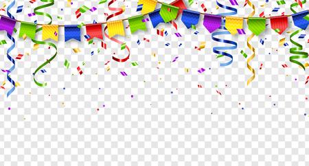 Kolorowe chorągiewki i konfetti