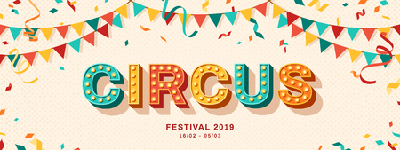 Circus retro typography design Illustration