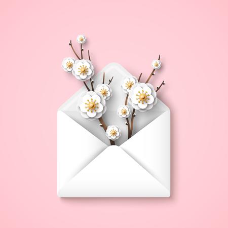 Sobre con ramas florecientes, flores blancas sobre fondo rosa. Ilustración de vector. Hola concepto de primavera, vista superior. Regalo feliz día de las madres.