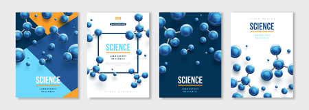 Banners set with blue molecules Illustration