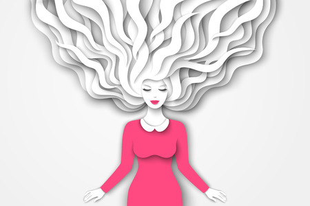 Fashion lady with paper cut long hair in pink dress on white background. Vector Illustration. Pretty girl character for 8 March, International Womens Day.  イラスト・ベクター素材