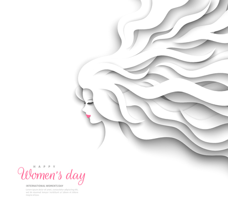 Pretty girl silhouette with paper cut long hair on white background. Vector Illustration. 8 March, International Womens Day.  イラスト・ベクター素材