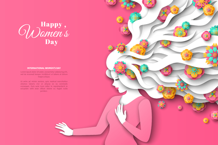 Fashion lady with paper cut long hair and flowers on pink background. Vector Illustration. 8 March, International Womens Day. Illustration