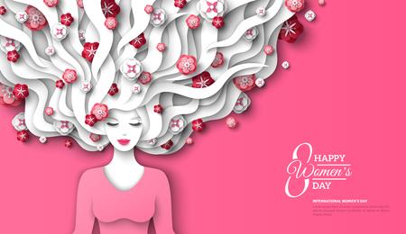 Signora della moda con capelli lunghi tagliati di carta e fiori su sfondo rosa. Illustrazione di vettore. 8 marzo, modello di volantino per la Giornata internazionale della donna. Vettoriali