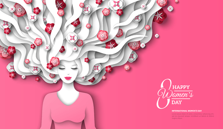 Fashion lady with paper cut long hair and flowers on pink background. Vector Illustration. 8 March, International Womens Day flyer template. Illustration
