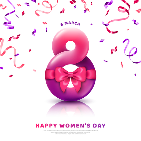 March 8 abstract form with pink ribbon bow and confetti. International Womens day white background. 3d figure eight for greeting card, flyer or brochure template. Vector illustration. Place for text  イラスト・ベクター素材