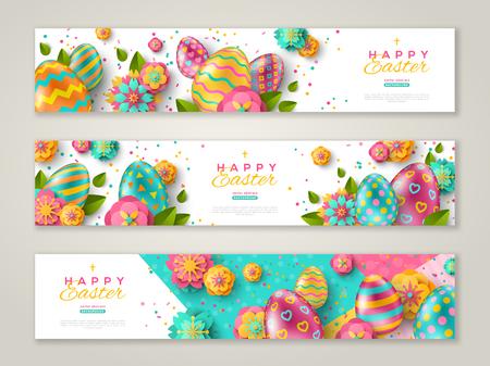Banners horizontales de Pascua con coloridos huevos adornados, flores y confeti. Ilustración de vector. Lugar para tu texto