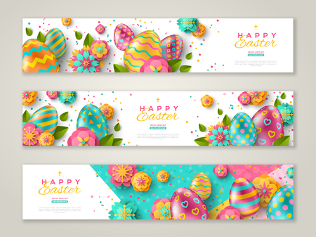Easter horizontal banners with colorful ornate eggs, flowers and confetti. Vector illustration. Place for your text Stok Fotoğraf - 117009140