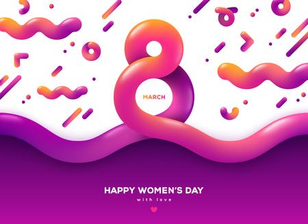 8 maart abstracte vloeiende vormen. Internationale Vrouwendag achtergrond. Trendy vloeibare 3d cijfer acht voor wenskaart, flyer of brochure sjabloon. Vector illustratie. Plaats voor tekst Vector Illustratie