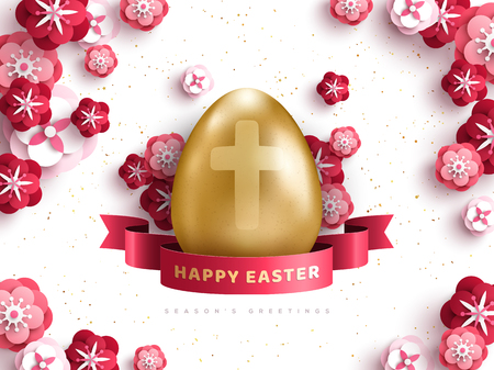 Gold egg with red flowers