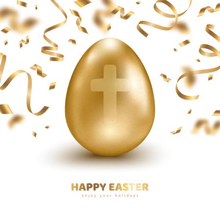 Gold egg with confetti