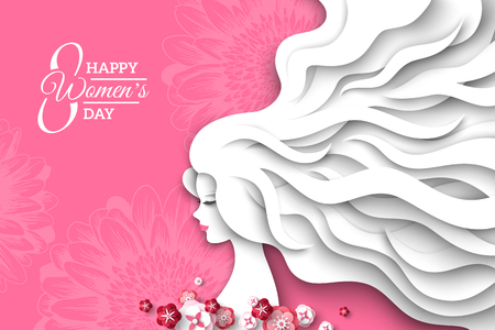 Fashion lady with paper cut long hair and flowers on pink background. Vector Illustration. 8 March, International Womens Day.  イラスト・ベクター素材