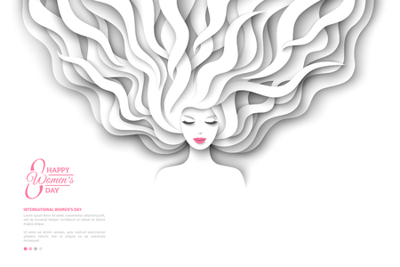 Pretty girl silhouette with paper cut long hair on white background. Vector Illustration. Modern character for 8 March, International Womens Day.