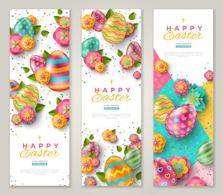 Striscioni verticali pasquali con uova decorate colorate, fiori primaverili e coriandoli. Illustrazione vettoriale. Posto per il tuo testo Vettoriali