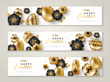 Easter horizontal banners with gold ornate eggs, flowers and confetti. Vector illustration. Place for your text