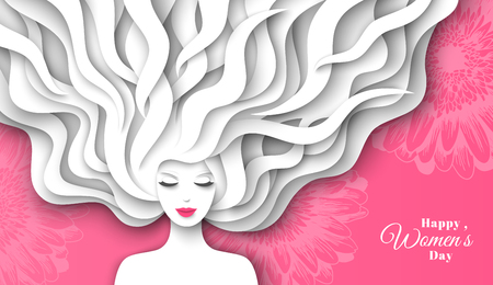 Fashion lady with paper cut long hair on pink background. Vector Illustration. Pretty character for 8 March, International Womens Day. Illustration