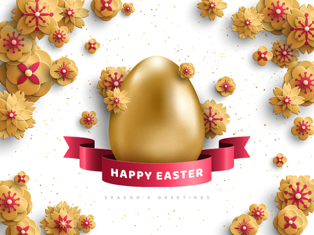 Realistic 3d golden egg with gold flowers and red ribbon on white background. Vector illustration. Happy Easter greeting card Illustration