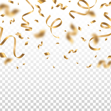 Falling shiny golden confetti and pieces of serpentine isolated on transparent background. Bright festive overlay effect with gold tinsels. Vector illustration.