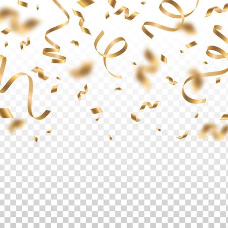 光沢のある黄金の紙吹雪と透明な背景に隔離された蛇の部分を落ちる。ゴールドティンセルとの明るいお祝いのオーバーレイ効果。ベクターの図。