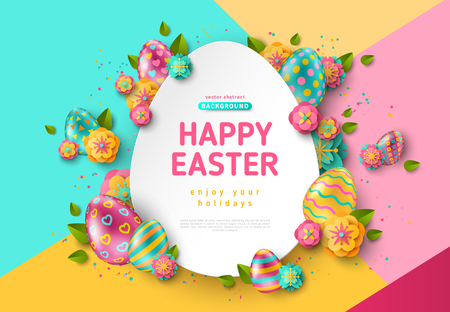 Easter card with paper cut egg shape frame, spring flowers and leaves on colorful modern geometric background. Vector illustration. Place for your text
