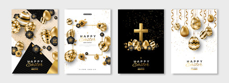 Easter black and gold posters or flyers design set with eggs and spring flowers. Vector illustration. Place for your text