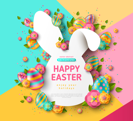 Easter card with bunny rabbit shape frame, spring flowers and eggs on colorful modern geometric background. Vector illustration. Place for your text.