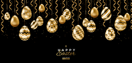 Long banner with border of Easter eggs and hanging gold streamers on black background. Vector illustration. Place for your text