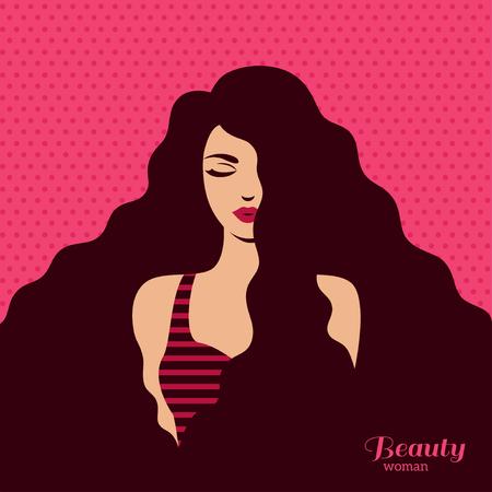 Moda vintage donna con capelli lunghi scuri su sfondo rosa. Illustrazione di vettore. Design elegante per volantini o striscioni per saloni di bellezza