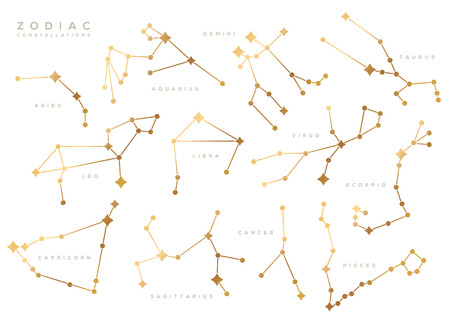 Zodiac constellations set 向量圖像