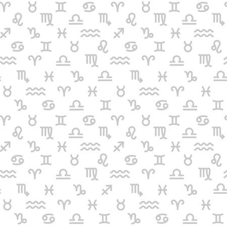 Zodiac monochrome seamless pattern