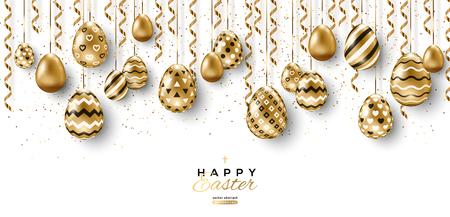Banner largo con borde de huevos de Pascua y serpentinas de oro colgantes sobre fondo blanco. Ilustración vectorial. Lugar para tu texto Ilustración de vector