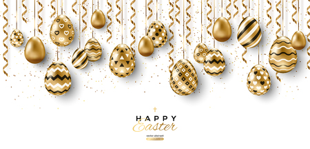 Long banner with border of Easter eggs and hanging gold streamers on white background. Vector illustration. Place for your text