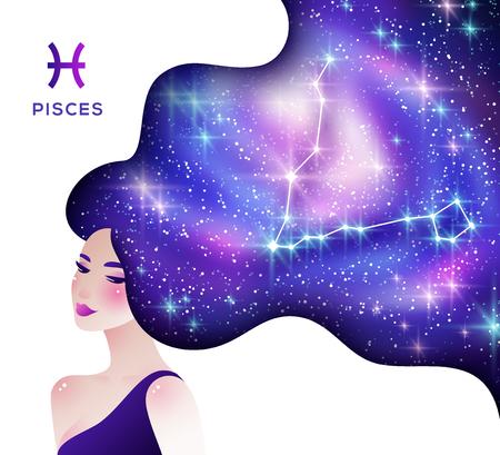 Pisces zodiac sign illustration Ilustración de vector