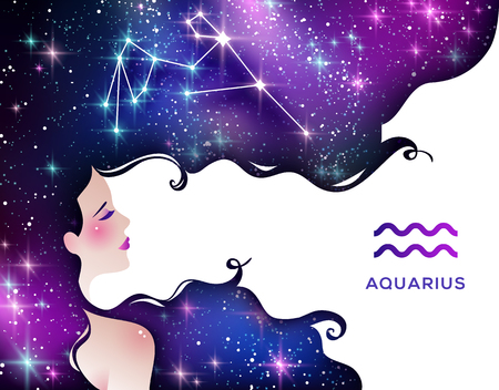 Aquarius zodiac sign illustration Archivio Fotografico - 119357545
