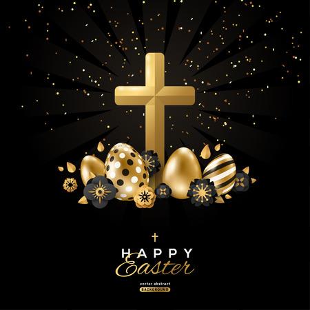 Affiche de Pâques avec croix Vecteurs
