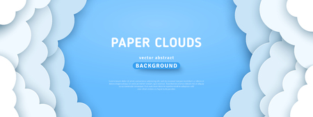 Beautiful fluffy clouds on blue sky background. Vector illustration. Paper cut style. Place for text Vettoriali