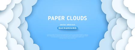 Belle soffici nuvole sullo sfondo del cielo blu. Illustrazione vettoriale. Stile carta tagliata. Posto per il testo Vettoriali