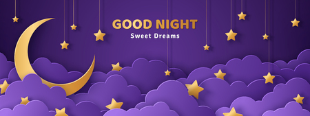 Good night and sweet dreams banner. Fluffy clouds on dark sky background with gold moon and hanging stars. Vector illustration. Paper cut style. Place for text Vettoriali